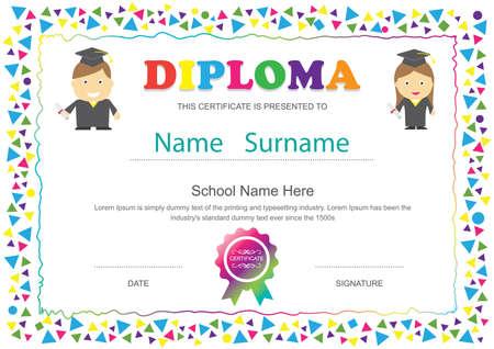 graduacion ni�os: Ni�os preescolar certificado diploma de escuela primaria fondo de la plantilla de dise�o Vectores