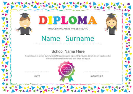 Preschool kids diploma certificate elementary school design template background Ilustração