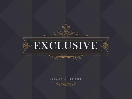 verschnörkelt: Luxus Kronenrahmen modernen Vektor-Logos Kalligraphie blüht elegante Vorlage Illustration
