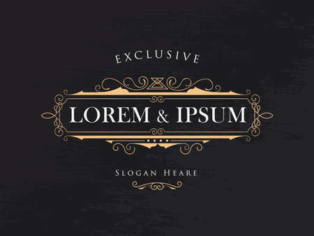 graphic illustration: luxury crown frame calligraphy flourishes elegant modern vector logos template