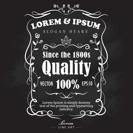 bordes decorativos: Dibujado a mano etiqueta de fotograma pancarta pizarra ilustración retro vector vendimia