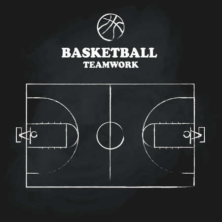 court: Basketball court floor vintage hand drawn blackboard vector illustration