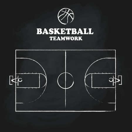 terrain de basket: De-chaussée de la cour de basket-ball à main vintage tableau dessinée illustration vectorielle