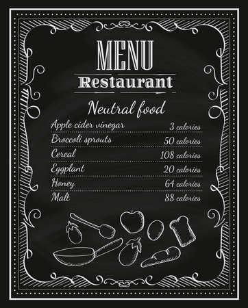 黒板レストラン手書き黒板フレーム ヴィンテージ メニュー ラベル ベクトル  イラスト・ベクター素材