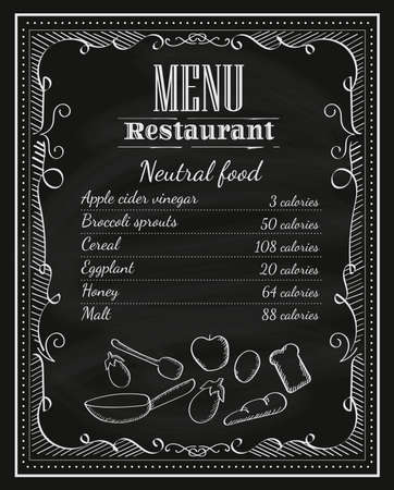 menu: blackboard restaurant hand drawn chalkboard frame vintage menu label vector