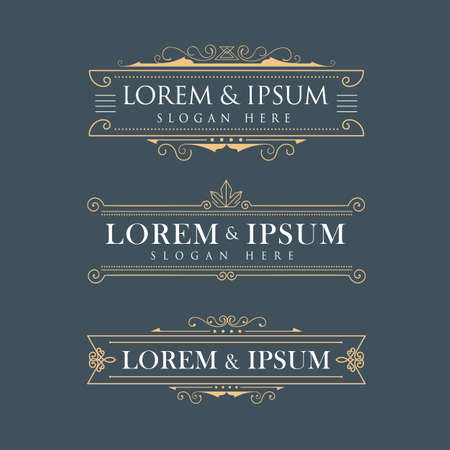floral vintage: Luxury crown frame vector logos calligraphy flourishes elegant template Illustration