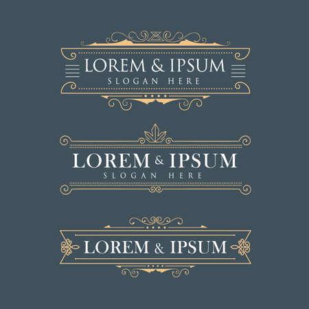 luxury template: Luxury crown frame vector logos calligraphy flourishes elegant template Illustration