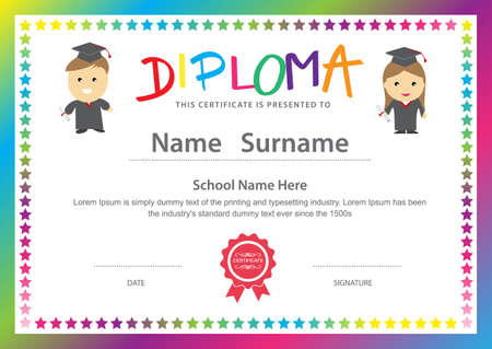 Preschool kids elementary school diploma certificate design background template