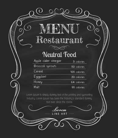 cuchillo de cocina: Men� del restaurante pizarra vendimia a mano marco dibujado vector de la etiqueta