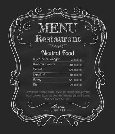 menu icon: Restaurant menu blackboard vintage hand drawn frame label vector
