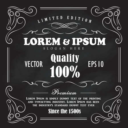 western: Vintage frame border hand drawn blackboard banner vector illustration Illustration