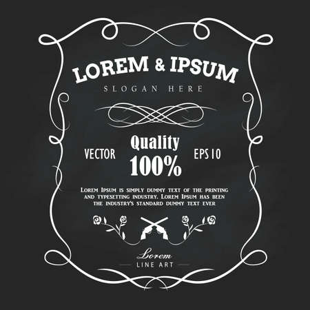 Vintage hand drawn frame label blackboard banner vector illustration