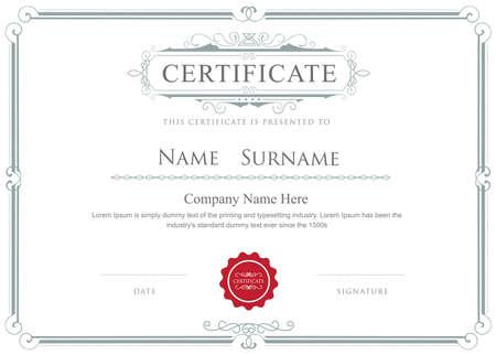 Certyfikat granicy wektor eleganckie kwitnie szablonu Ilustracje wektorowe