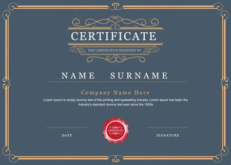 Certificate achievement frame border elegant flourishes template