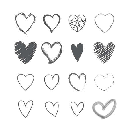 heart shape hands: Set of heart shape hands drawn icons vector