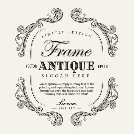 Antique frame hand drawn vintage label banner vector illustration