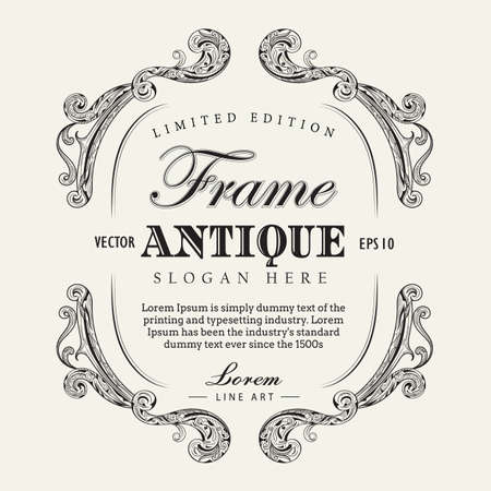 vintage banner: Antique frame hand drawn vintage label banner vector illustration