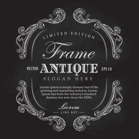 Antique frame chalkboard hand drawn vintage label banner vector illustration