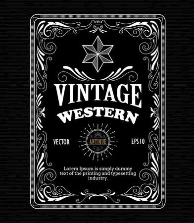 Vintage bordure du cadre étiquette ouest main rétro gravure dessinée vecteur antique illustration