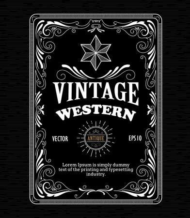 whisky: Vintage bordure du cadre étiquette ouest main rétro gravure dessinée vecteur antique illustration