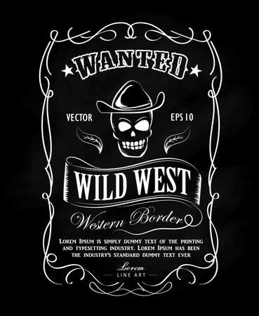 Vintage frame label blackboard hand drawn western border vector illustration