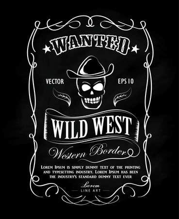 Vintage main frame label tableau noir dessiné illustration vectorielle de la frontière occidentale