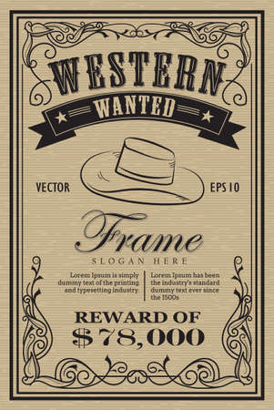 Western vintage frame label wanted retro hand drawn vector illustration