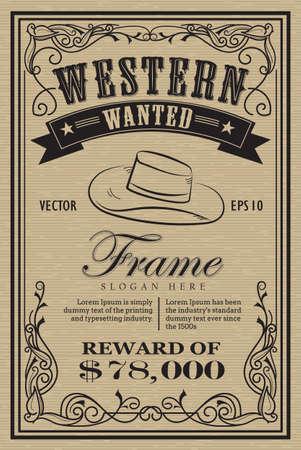 whisky: étiquette occidentale vintage frame voulait dessiné à la main rétro illustration vectorielle