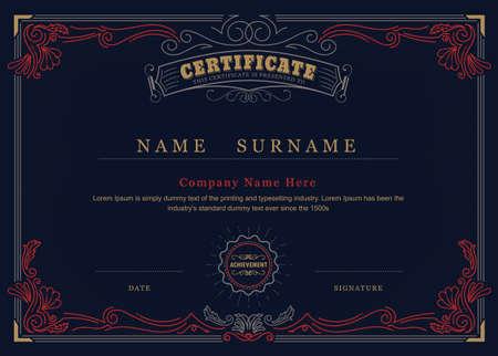 frame border: Achievement certificate antique frame elegant flourishes border vector template Illustration