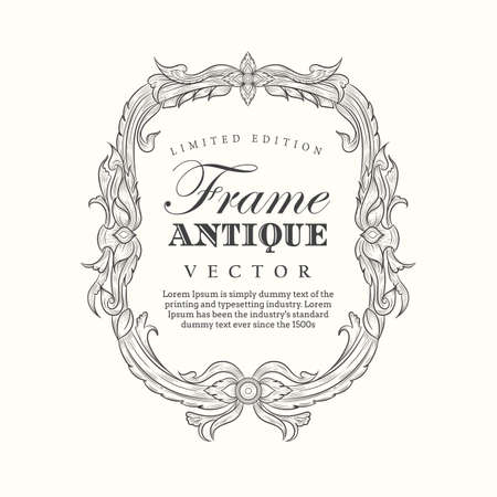 Antique frame hand drawn vintage label banner elegant flourishes vector illustration