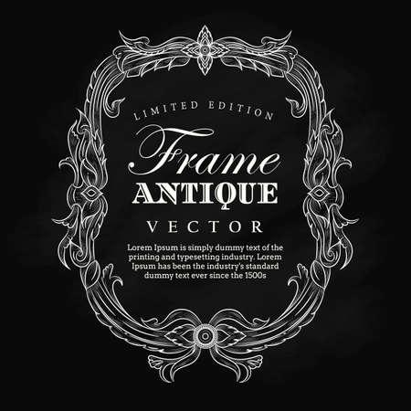 Antique, cadre, vendange, dessin, dessin, tableau noir, étiquette, élégant, fleurit, vecteur, illustration