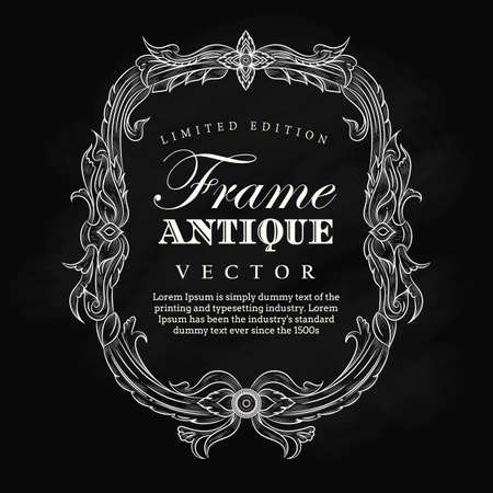 Antique frame vintage hand drawn blackboard label banner elegant flourishes vector illustration