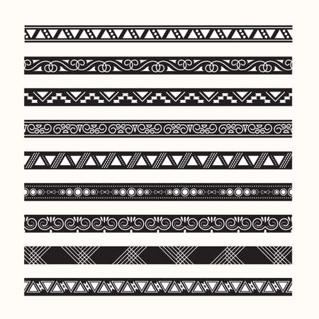 Set van vintage grenzen lijnen vector Stock Illustratie