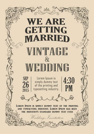 Bruiloft uitnodiging frame vintage grens vector illustratie