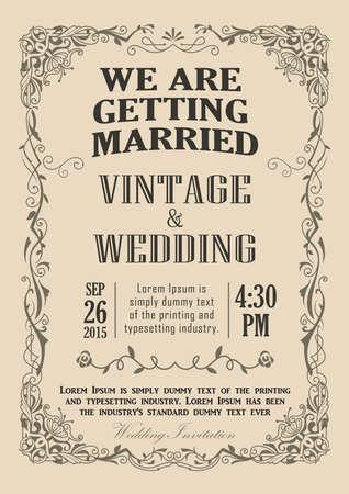 Marco de la invitación de la boda Frontera de la vendimia ilustración vectorial