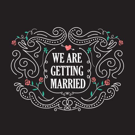 anillos boda: plantillas de la invitación de la boda con la flor del vector marco de la vendimia