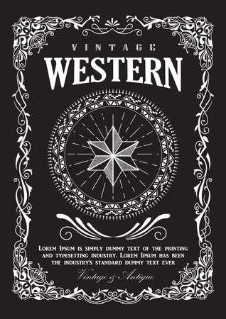 western pattern: western border vintage frame flourish banner vector illustration