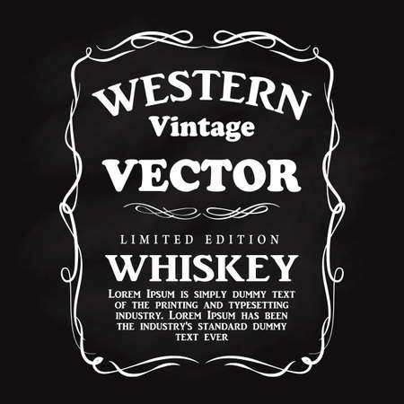 Western design frame flourish hand drawn label blackboard vintage vector illustration