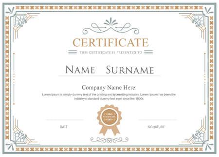 elegant template: Certificate flourishes elegant vector vintage template Illustration