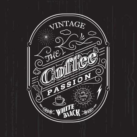 label frame: Vintage frame border coffee label design badge elements vector Illustration