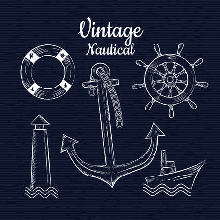 Set vintage hand drawn nautica vector illustration Illustration