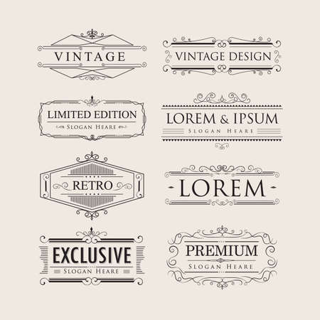 Set vintage luxury calligraphy flourishes elegant logos badges vector