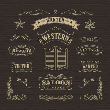 Western hand drawn banners vintage badge vector
