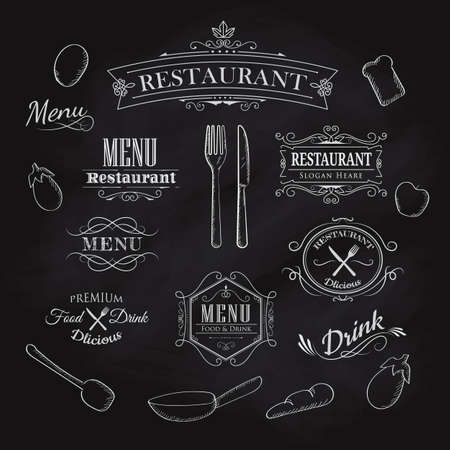 Typographical Element for Menu restaurant blackboard vintage hand drawn frame label vector illustration