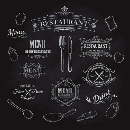 Typographical Element for Menu restaurant blackboard vintage hand drawn frame label vector illustration Banco de Imagens - 72003242