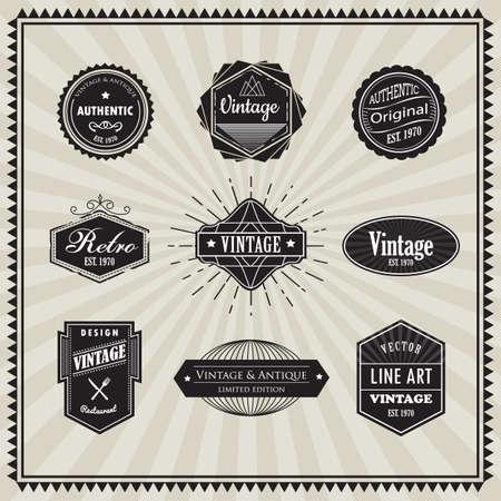 Conjunto de elementos de diseño de línea delgada art deco vendimia insignia lineales retro forma geométrica con la esquina del marco Ilustración de vector