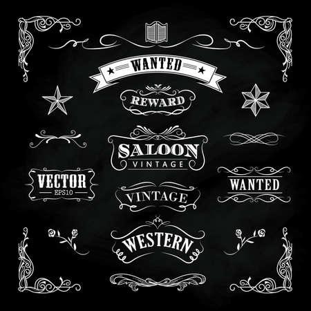 Occidental, mano, dibujado, pizarra, banderas, vendimia, divisa, vector