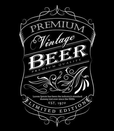 Beer label western hand drawn frame blackboard typography border vintage vector illustration