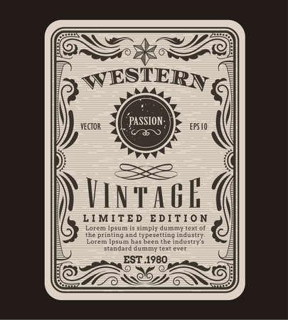 Western frame border vintage label hand drawn engraving retro antique vector illustration Vetores
