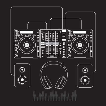 Dj mixer sound turntables headphone isolated vector Ilustração